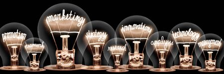 Photo of light bulbs with shining fibers in shapes of Marketing, Innovation, Technology and Strategy concept related words isolated on black background Stock fotó