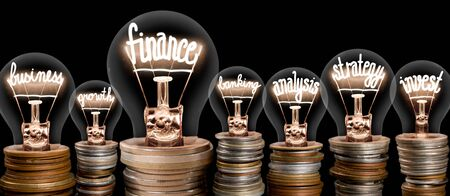 Group of light bulbs on coin stacks with shining fibers in a shape of Finance, Strategy, Business and Invest concept related words isolated on black background