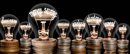 Group of light bulbs on coin stacks with shining fibers in a shape of Money Saving, Strategy, Business and Invest concept related words isolated on black background