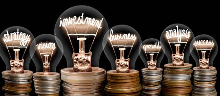 Group of light bulbs on coin stacks with shining fibers in a shape of Investment, Strategy, Business and Analysis concept related words isolated on black background