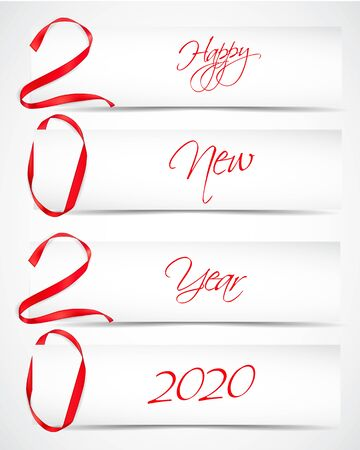 Vector illustration of New Year 2020 made of red ribbons with paper cards