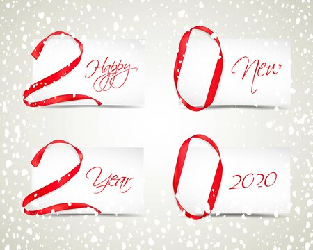 Vector illustration of New Year 2020 made of red ribbons with paper cards and snowfall