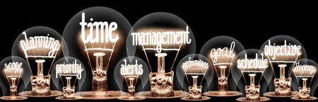 Large group of light bulbs with shining fibers in a shape of Time Management, Scope, Planning and Alerts concept related words isolated on black background Stock Photo