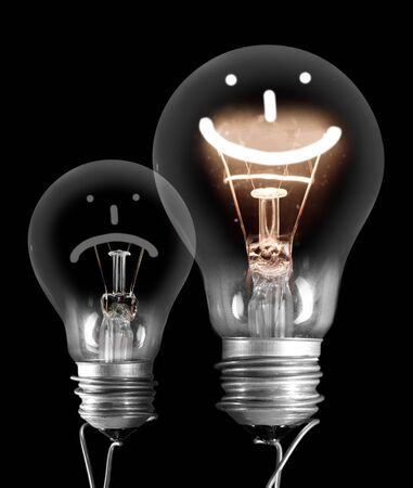 Group of light bulbs going from dark one to a shining one with fiber in Positive, Neutral and Negative emotion isolated on black