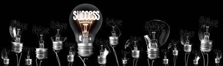 Large group of shining and dimmed light bulbs with fibers in a shape of Failure and Success concept words isolated on black background