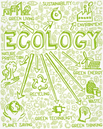 Vector illustration of hand drawn flat icon group with Ecology, Environment, Recycling, Zero Waste and Sustainability concept