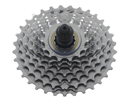 Bike Sprocket on White for Easy Cut-Out                                Stock Photo