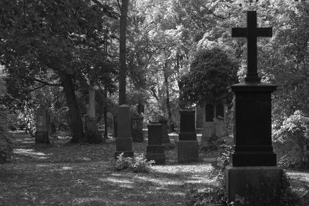 Black and White Cemetery Image with Crosses