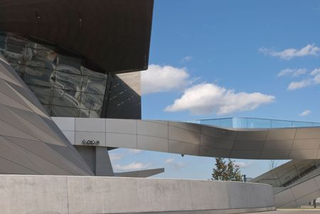 automaker: Architectural Detail of BMW Welt in Munich Germany Stock Photo
