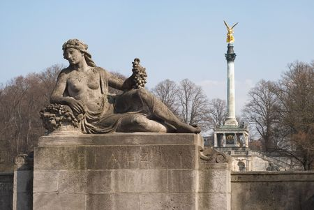 Angel of Peace and Luitpold Bridge in Munich photo