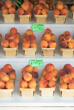 Fresh Peaches at a Country Market