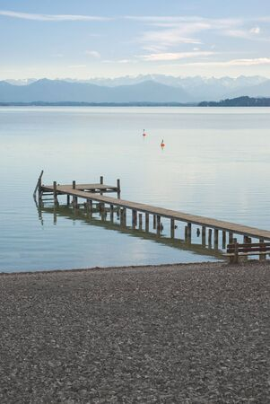 starnberger see: Alpine Landscape with Dock on Lake Starnberger (Starnberger See)