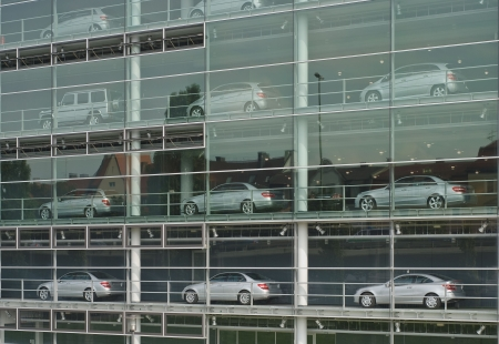 Collection of Cars at a Modern Showroom Stock Photo
