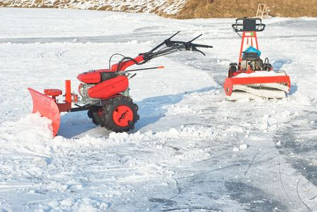 removing: Snowplow for Removing Snow after Winter Storm