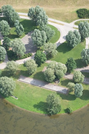 suburbia: Aerial View of Recreational Park as Symbol of Urban Planning Stock Photo