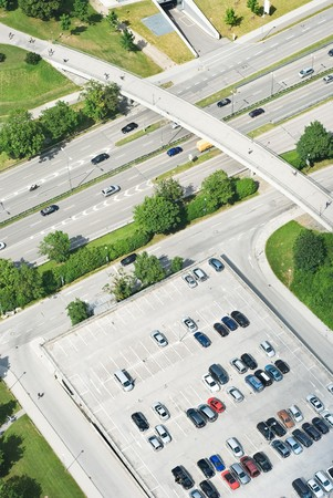 urban planning: Aerial View of Highway with Pedestrian Bridge Stock Photo