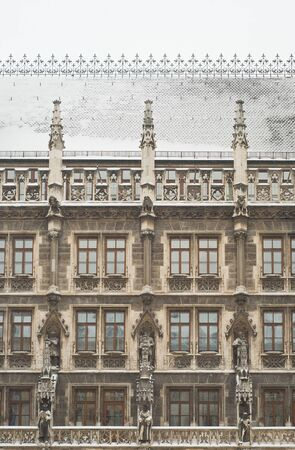 Snowy Munich City Hall as Example of Gothic Architecture Stock Photo - 8877291