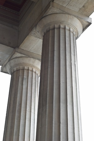 Cutout of Two Classical Greek Columns from a Low Angled View