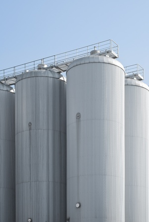 Industrial Agriculture Silo Housing Grain with Copy Space Stock Photo