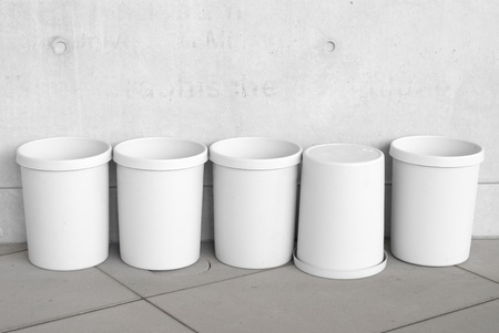 Six Empty Trash Cans as Recycling  Symbols Stock Photo - 9440090