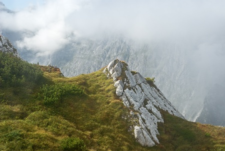 Alpine Mountain Landscape In Bavaria with Rocks and Grass photo