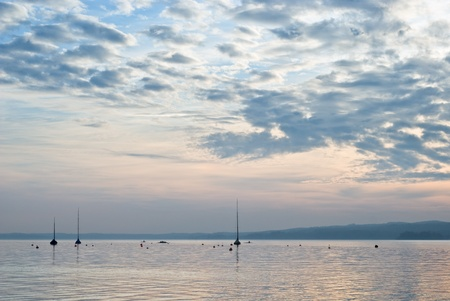 low light: Low Light Landscape with Boats on Lake Starnberg, Germany