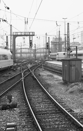 Munich Train Station in Black and White
