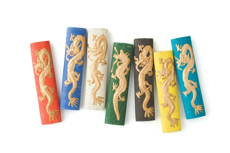 East Asian Ink Sticks with Dragon Decoration Stock Photo