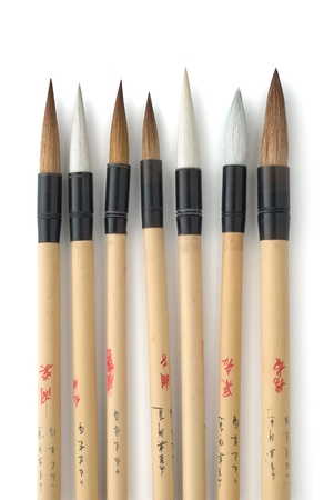 Chinese Calligraphy and Sumi-e Art Brushes on White