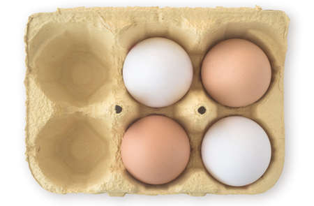 Four Eggs in Carton with Copy Space Stock Photo - 11814756