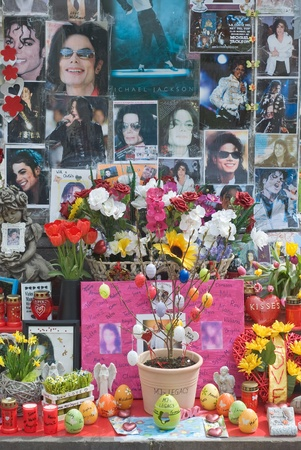 michael jackson: Munich, Germany April 10, 2012  Easter Decorations with Candles and Eggs at Memorial for Michael Jackson in Munich, Germany