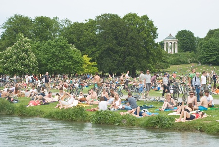 bayern: Munich, Germany � May 20   After the Champions League Final, Chelsea and Bayern Munich Fans relax in the English Garden May 20, 2012 in Munich