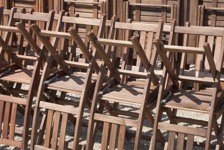 venue: Composition of Stacked Chairs at an Entertainment Venue Stock Photo