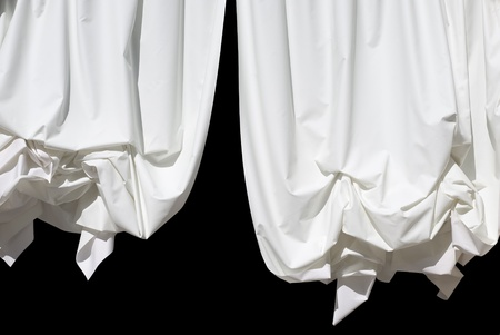 stage decoration abstract: White Curtains Isolated on Black as Design Element