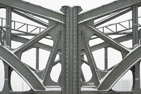 girders: Metal Girders on a Bridge Stock Photo