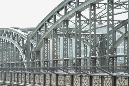 Metal Truss Bridge at Wintertime in Munich