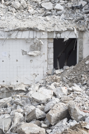 rubble: Building Demolition as Sign of Urban Renewal Stock Photo