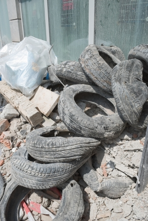 urban redevelopment: Rubble and Old Tires from Demolition as Sign of Urban Renewal