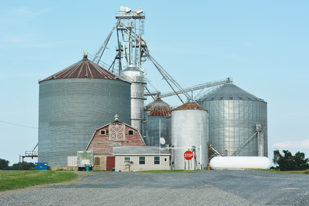 food processing: Industrial Agriculture Silo with Harvested Grain