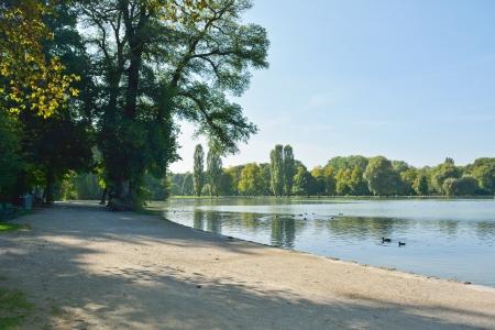 English Garden with the Kleinhesseloher Lake in Munich Germany