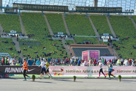 MUNICH, GERMANY � Oct. 13, 2013:  On Sunday, runners take part in sunny weather for the 28th Munich Marathon in Munich, Germany