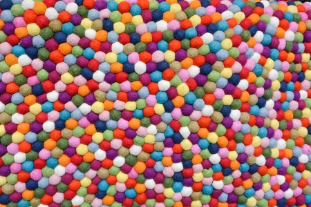 Multicolor Balls of Wool as Design Element Stock Photo