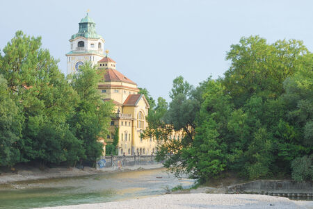 Summer Landscape with Art Nouveau Style Bathhouse in Munich  photo