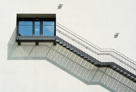 metal handrail: Metal Stairs as an Contemporary Architectural Element Stock Photo