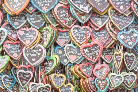 MUNICH, GERMANY - SEPT. 26, 2014:  Traditional Gingerbread Hearts at the 181st Octoberfest celebrating the festivities. The Festival runs from Sept. 20 - Oct. 5  in Munich, Germany