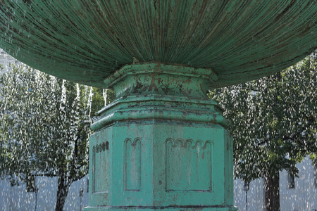 university fountain: Famous Water Fountain at the University in Munich Germany
