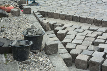 construction materials: Road Construction Site with Cobblestone and Gravel