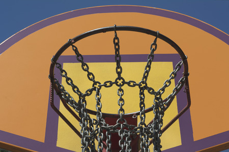 steel chain: Steel Chain Basketball Net at an Outdoor Recreation Park Stock Photo