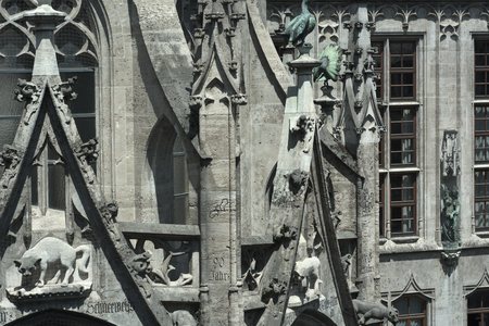 gothic revival: Munich City Hall with Detail of Gothic Revival Architecture Stock Photo