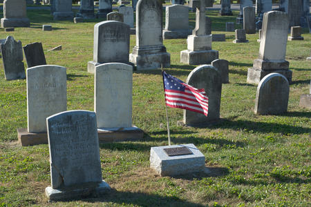 tombstones: Cemetery with Tombstones and the American Flag